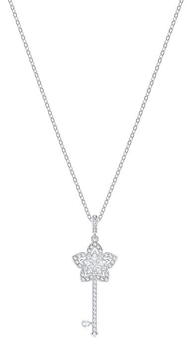 Swarovski Lady Key Pendant, White, Rhodium