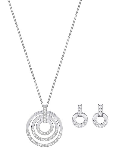 Swarovski Crystal and Rhodium Circle Necklace and Pierced Earrings Jewelry Set
