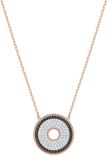 Swarovski Lollypop Jet Black Crystal Rose Gold Pendant Necklace