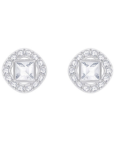Swarovski Crystal and Rhodium Angelic Square Pierced Earrings Pair