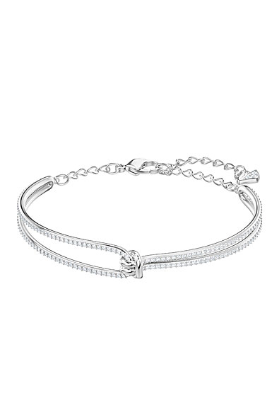 Swarovski Lifelong Bangle, White, Rhodium