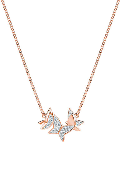 swarovski lilia small crystal rose gold butterfly pendant necklace
