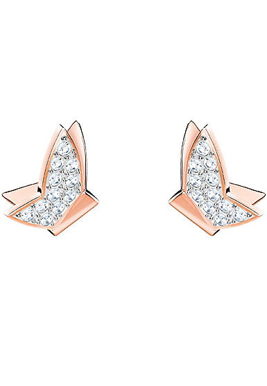 Swarovski Lilia Pierced Earrings, White, Rose Gold