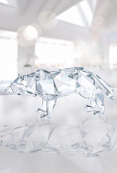 Swarovski Crystal, Wolf Sculpture By Arran Gregory, Crystal