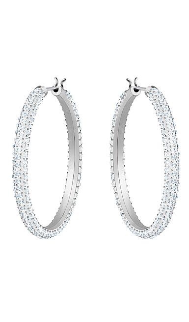 Swarovski Stone Hoop Pierced Earrings, White, Rhodium
