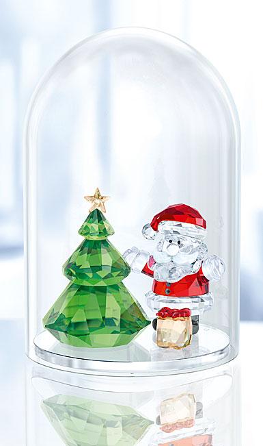 Swarovski Bell Jar - Christmas Tree and Santa