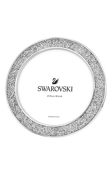"Swarovski Crystal Minera 4"" Round Picture Frame Silver Tone"