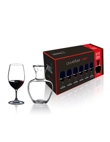 Riedel Six Ouverture Magnum Glasses + Free Apple Crystal Wine Decanter, Boxed Set