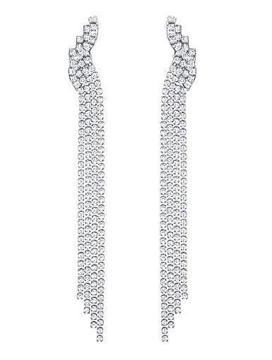Swarovski Fit Crystal and Ruthenium Long Clip Earrings Pair