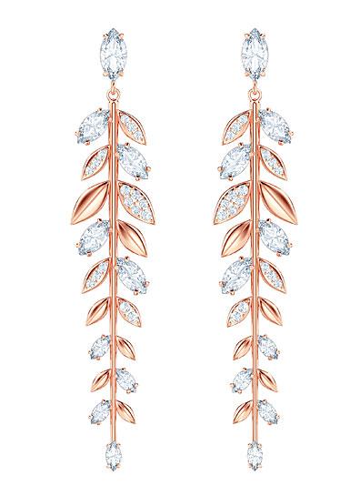 Swarovski Mayfly Crystal and Rose Gold Long Pierced Earrings Pair