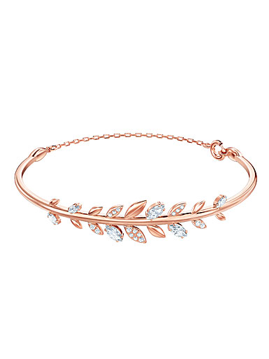 Swarovski Mayfly Crystal and Rose Gold Bangle Bracelet, Medium