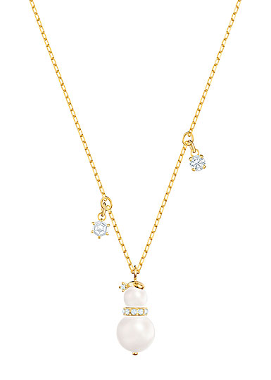 Swarovski Little Snowman White Crystal and Gold Pendant Necklace