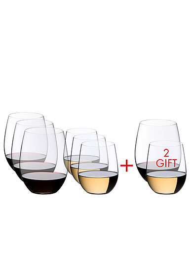 Riedel O Cabernet and Viognier Wine Stemless Glass Set, 6 + 2 Free