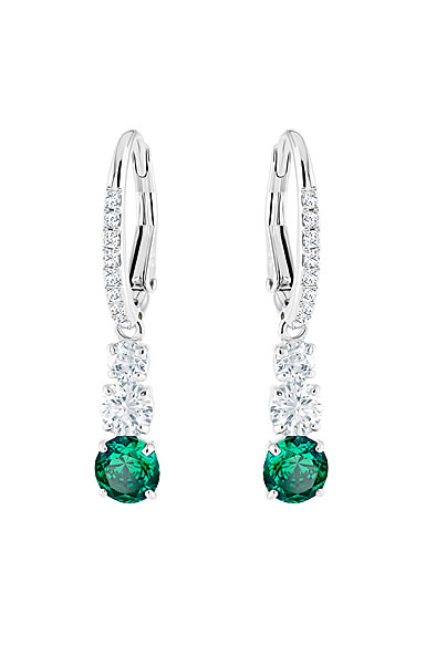 Swarovski Attract Trilogy Round Green Crystal and Rhodium Pierced Earrings Pair