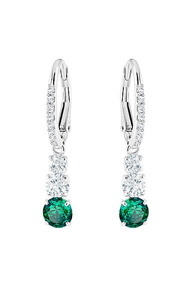 Swarovski Attract Trilogy Round Pierced Earrings, Green, Rhodium