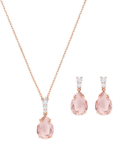 Swarovski Vintage Pink and Rose Gold Necklace and Pierced Earring Set