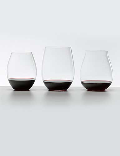 Riedel Big O Stemless, Red Crystal Wine Glasses, Set of Three