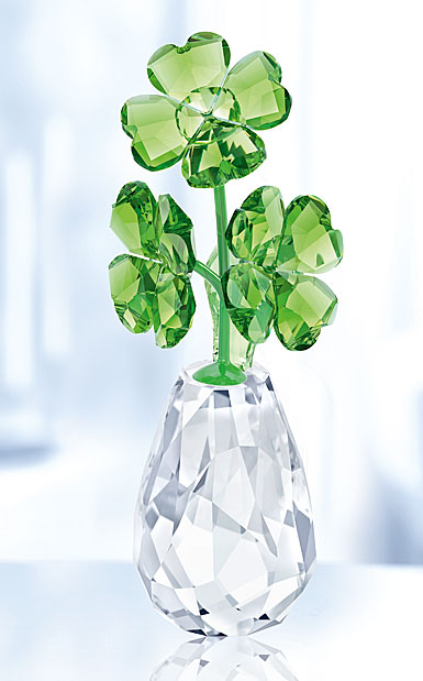 Swarovski Crystal, Flower Dreams Four Leaf Clovers Flower Pot