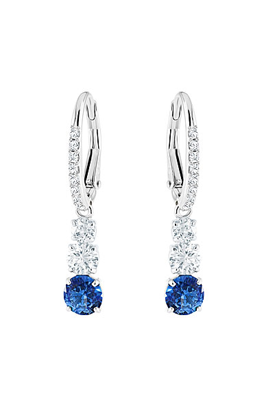 Swarovski Attract Trilogy Round Blue Crystal and Rhodium Pierced Earrings Pair