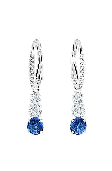 Swarovski Attract Trilogy Round Pierced Earrings, Blue, Rhodium