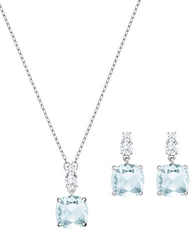Swarovski Vintage Square Blue and Rhodium Necklace and Pierced Earring Set