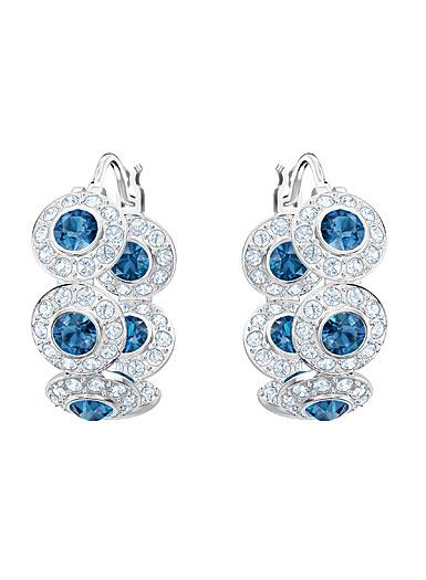 Swarovski Angelic Teal Crystal and Rhodium Hoop Pierced Earrings Pair