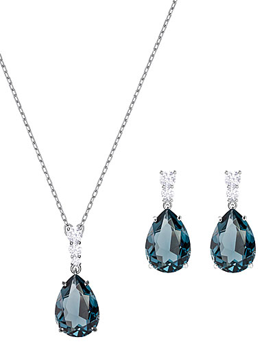Swarovski Vintage Teal and Rhodium Necklace and Pierced Earring Set