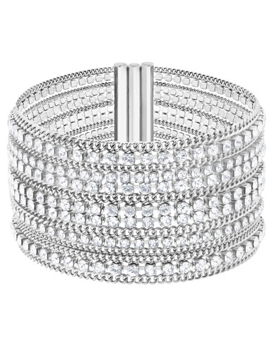Swarovski Fit Crystal and Stainless Steel Wide Bracelet, Medium