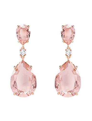 Swarovski Vintage Pink and Rose Gold Drop Pierced Earrings Pair