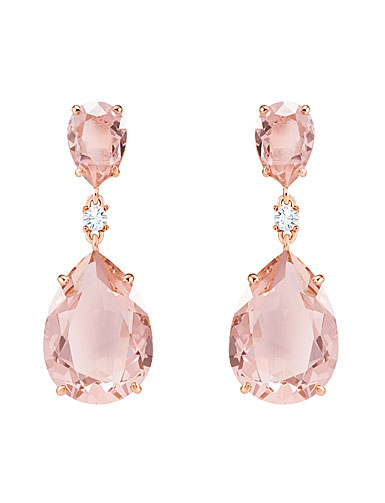 Swarovski Vintage Drop Pierced Earrings, Pink, Rose Gold