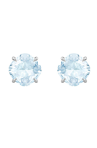 Swarovski Mix Blue and Rhodium Pierced Earrings Pair