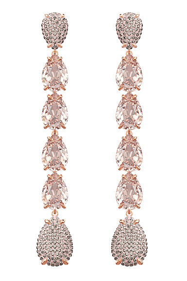 Swarovski Mix Pink Crystal and Rose Gold Long Pierced Earrings Pair