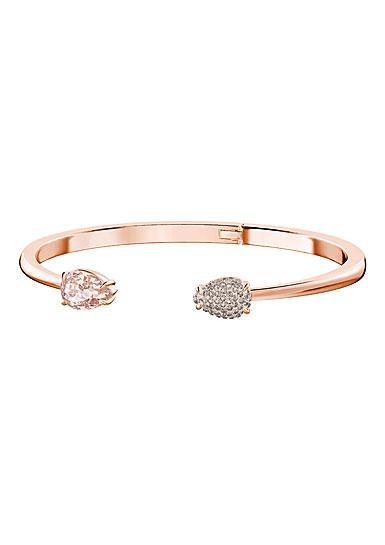 Swarovski Mix Pink Crystal and Rose Gold Bangle Bracelet, Medium