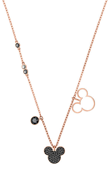 Swarovski Disney Mickey and Minnie Multi Colored Rose Gold Pendant Necklace