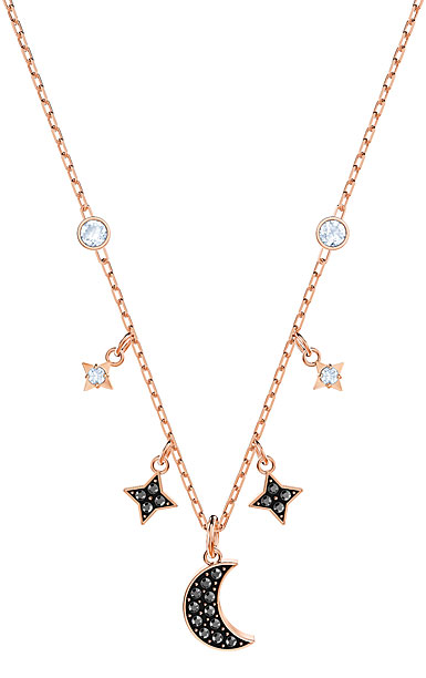 Swarovski Duo Black and Rose Gold Moon Necklace