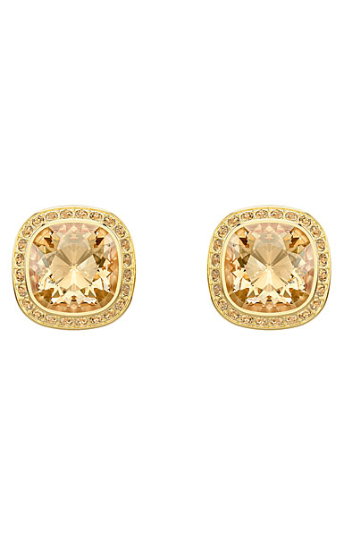 Swarovski Lattitude Golden Crystal and Gold Stud Pierced Earrings Pair