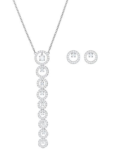 Swarovski Creativity Crystal and Rhodium Long Pendant Necklace and Pierced Earrings Set