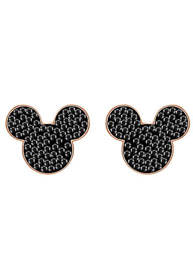 Swarovski Disney Mickey and Minnie Black and Rose Gold Pierced Earrings Pair