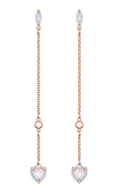 Swarovski Jewelry, One Pierced Earrings Long Pink Crystal Rose Gold