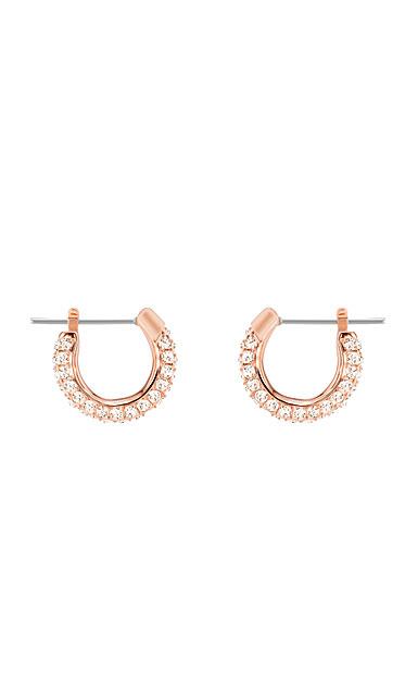 Swarovski Stone Pierced Earrings, Pink, Rose Gold