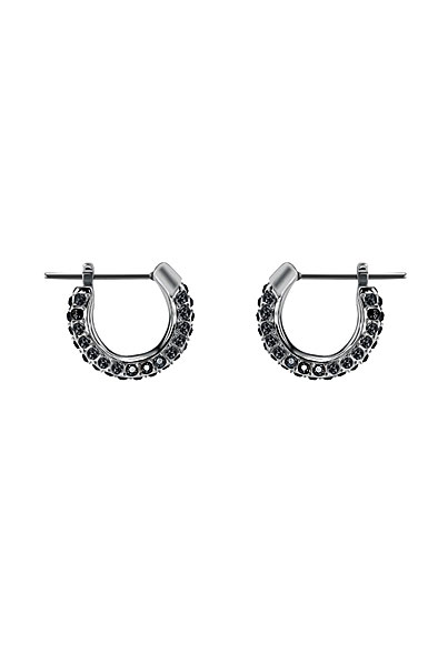 Swarovski Stone Jet Hematite Ruthenium Pierced Earrings Pair