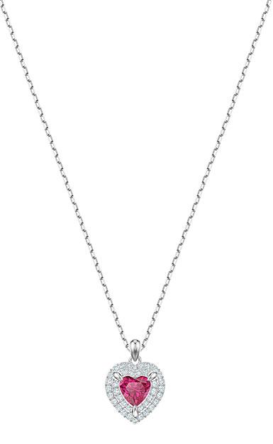 Swarovski Jewelry, One Pendant Red Crystal Rhodium Silver