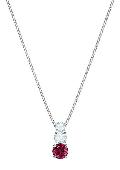 Swarovski Attract Trilogy Round Ruby, Crystal and Rhodium Pendant Necklace