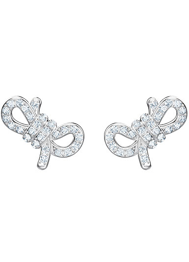 Swarovski Jewelry, Crystal Rhodium and Silver Lifelong Bow Pierced Earrings
