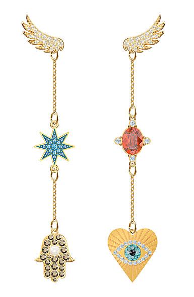 Swarovski Jewelry, Lucky Goddess Pierced Earrings Multi Colored Gold