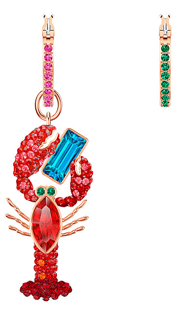 Swarovski Jewelry, Ocean Pierced Earrings Hoop Lobster Multi-Color Rose Gold