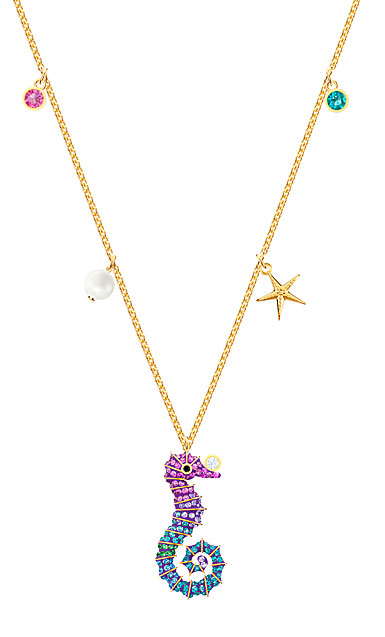 Swarovski Jewelry, Ocean Pendant Seahorse Multi-Color Gold