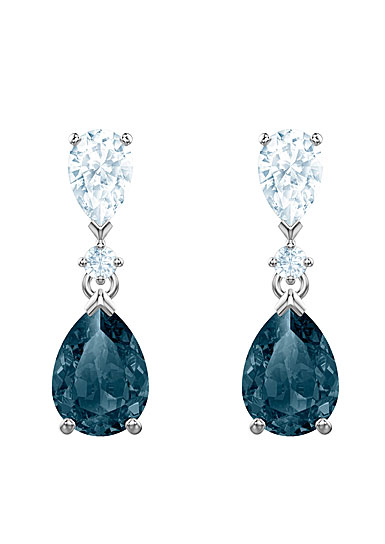 Swarovski Jewelry, Vintage Pierced Earrings Pear Mont Rhodium Silver