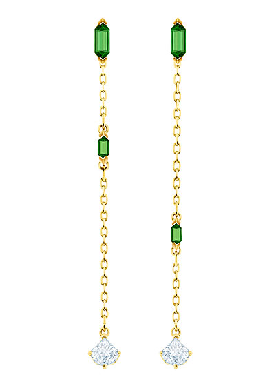 Swarovski Jewelry, Oz Pierced Earrings Chain Crystal Gold