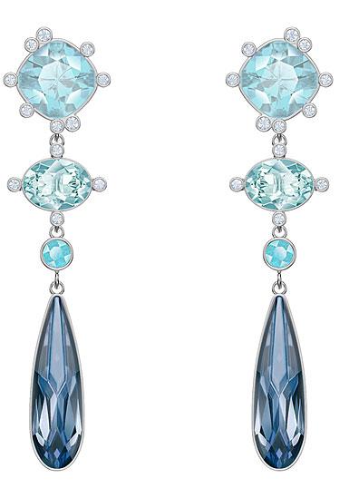 Swarovski Jewelry, Olive Pierced Earrings Chndl Multi-Color Rhodium Silver